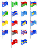 Flags of Oceania countries vector illustration. Isolated on white background Stock Photos