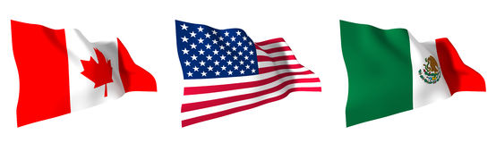 Free Flags Of North America Royalty Free Stock Photography - 35487097