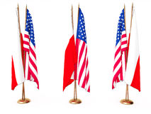 Flags Of Poland(Polish) And The United State Royalty Free Stock Image