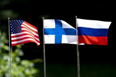 Free Flags Of United States Of America, Finland And Russia Stock Photography - 120796492
