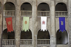 Flags - old castle in Romania Royalty Free Stock Photo