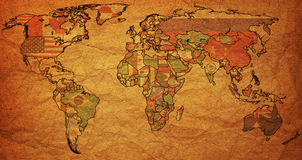 Flags on old political map of world Royalty Free Stock Images