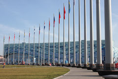 Flags in olympic park in Sochi Stock Photography