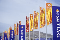 Flags at Olympic Square, near Delta during 2002 Winter Olympics, Salt Lake City, UT Royalty Free Stock Images