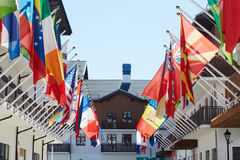 Flags in olympic village. In sochi Stock Images