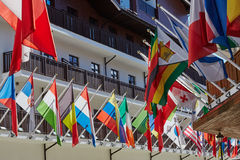Flags in olympic village. In sochi Stock Image
