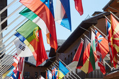 Flags in olympic village. In sochi Royalty Free Stock Photography