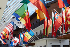 Flags in olympic village. In sochi Royalty Free Stock Image