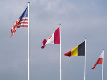 Flags at Omaha Beach, France Royalty Free Stock Images