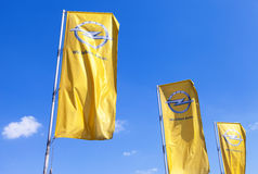 The flags of Opel over blue sky Stock Photo