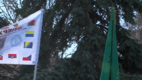 Flags at the opening of the monument to Academician Likhachev in Bulgaria stock video footage