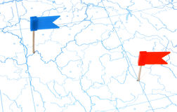 Flags on a outline map Royalty Free Stock Photography
