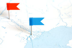 Flags on a outline map Royalty Free Stock Images