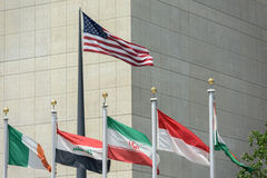 Flags outside united nations building in new york Stock Photo