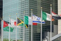 Flags outside united nations building in new york Royalty Free Stock Photography