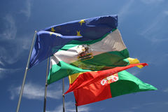 Flags over Alcazar, Granada, Spain Royalty Free Stock Image
