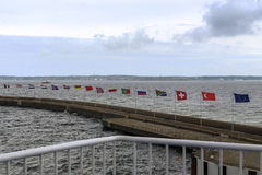 Flags over Kattegat Strait Stock Photos