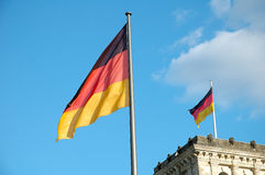 Flags over Reichstag Royalty Free Stock Image