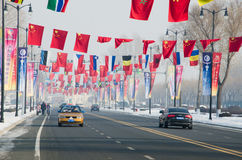 Flags over road. Different national flags above road to sun island,in harbin city,china,2014,26th snow and ice world festival Royalty Free Stock Photography