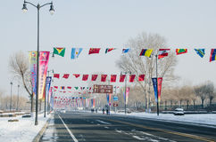 Flags over road. Different national flags above road to sun island,in harbin city,china,2014,26th snow and ice world festival Stock Image