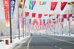 Flags over road. Different national flags above road to sun island,in harbin city,china,2014,26th snow and ice world festival Stock Images