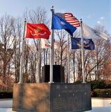 Flags over Veterans Memorial in King, North Carolina stock photos