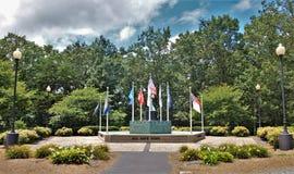 Flags over Veterans Memorial in King, North Carolina stock photo
