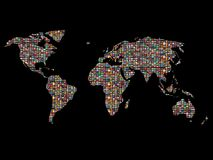 Flags over the world. Hundreds of world flags covering the planet over black Royalty Free Stock Photo