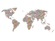 Flags over the world. Hundreds of world flags covering the planet over white Stock Photo