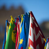 Flags of Palio. The Palio di Siena (known locally simply as Il Palio) is a horse race that is held twice each year, on July 2 and August 16, in Siena, Italy stock image