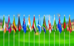 Flags of participating countries of cricket 2015 Stock Image