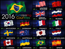Flags of participating countries for games olympics in Rio. Composition of international flags for the Rio 2016 Games in brazil Royalty Free Stock Photo