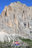 Flags upon the Passo di Sella, Italian Dolomites Royalty Free Stock Photos