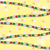 Flags pattern background. Vector bunting flags. Colorful Garland with cofetti Stock Photo