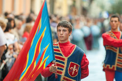 Flags Performers in medieval costumes Royalty Free Stock Image