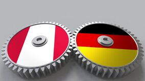 Flags of Peru and Germany on meshing gears. International cooperation conceptual animation
