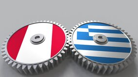 Flags of Peru and Greece on meshing gears. International cooperation conceptual animation