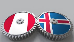 Flags of Peru and Iceland on meshing gears. International cooperation conceptual animation