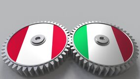 Flags of Peru and Italy on meshing gears. International cooperation conceptual animation