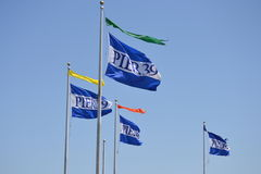 Flags at Pier 39. Flags blowing in a brisk wind. Pier 39, Fishermans Wharf. San Francisco, CA Stock Photography