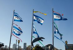 flags at Pier 39. San Francisco. USA stock images