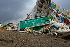 The Minzhaila of flags. This place called Minzhaila, the Tibetan people throw the patients clothes here in the heart, and chant prayers, patients will recover Royalty Free Stock Photography