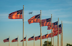 Flags and Plane Royalty Free Stock Photos