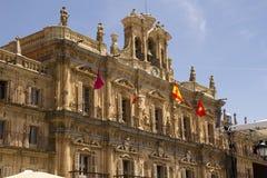 Flags on Plaza Mayor in Salamanca, Spain Royalty Free Stock Photo
