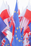 Flags of Poland and European Union Royalty Free Stock Photo