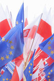 Flags of Poland and European Union Stock Photos