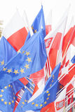 Flags of Poland and European Union Stock Images