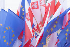 Flags of Poland and European Union Royalty Free Stock Images
