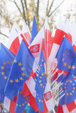 Flags of Poland and European Union Stock Photography