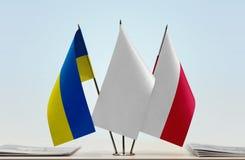 flags poland ukraine Royaltyfria Bilder